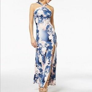 Formal Blue and Pink Floral Long Dress Size 3